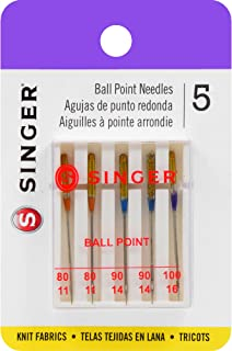 SINGER 4863 Universal Ball Point Machine Needles, Assorted Sizes, 5-Count