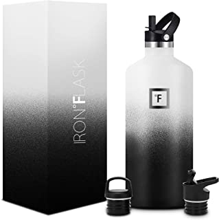 IRON °FLASK Sports Water Bottle - 12oz,16oz,20oz,24oz,32oz,64oz, 3 Lids (Straw Lid), Vacuum Insulated Stainless Steel, Hot Cold, Modern Double Walled, Simple Thermo Mug, Standard Hydro Metal Canteen