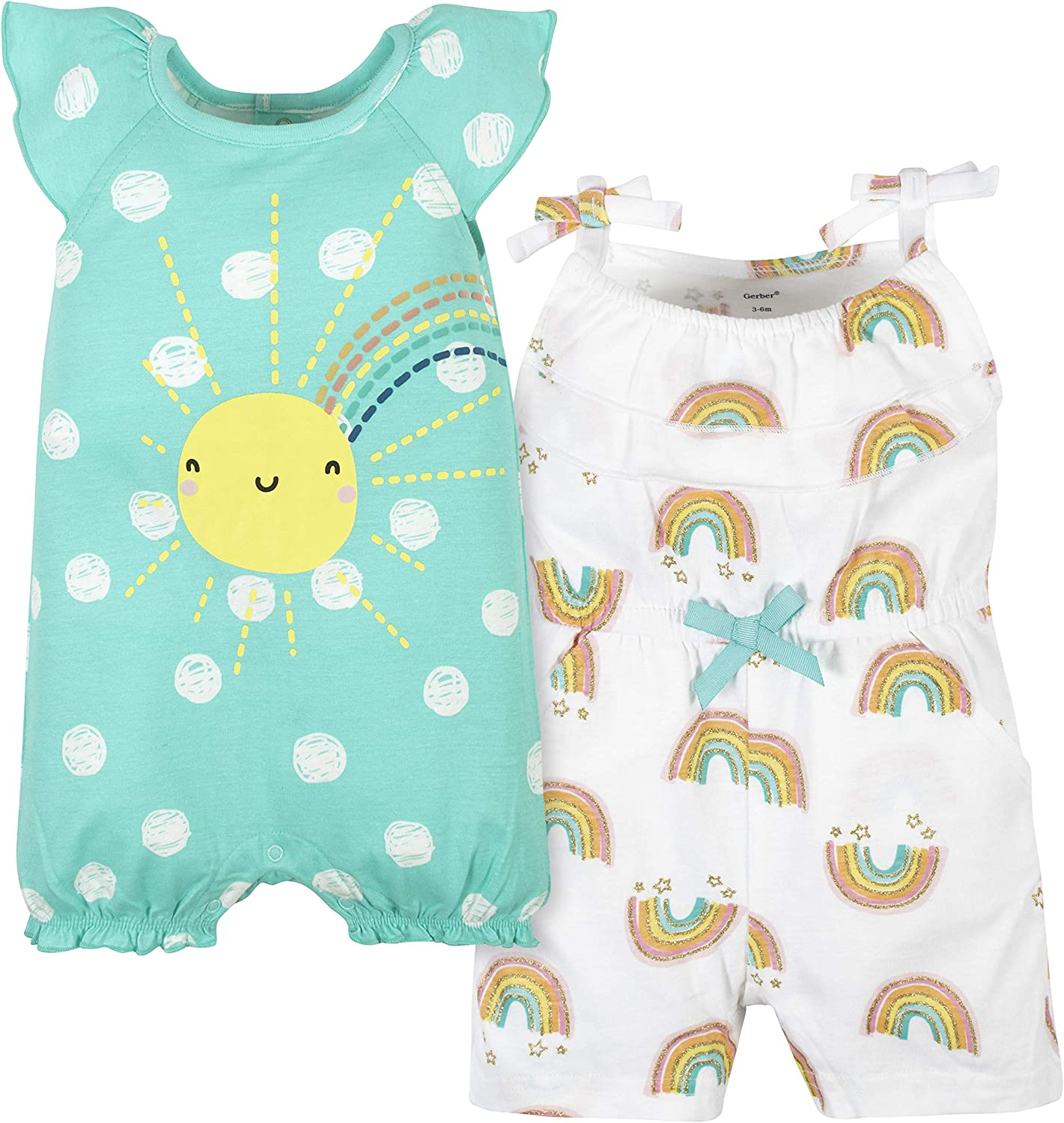 Gerber Baby Max 47% low-pricing OFF Girls' 2-Pack Rompers