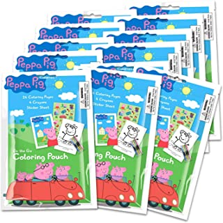 Peppa Pig Coloring Pack Party Favors in Resealable Pouches (Stickers, Crayons and Coloring Activity Book) Set of 12