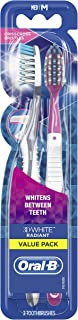 Oral-B 3D White Radiant Whitening Toothbrush 40 Medium 2 Count ( Color May Vary )