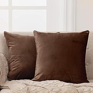 Deconovo Fundas para Cojines de Almohada del Sofá Cubierta Suave Decorativa Protector para Hogar 2 Piezas 50 x 50 cm Choco...