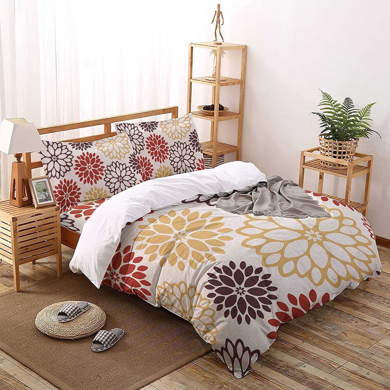 MUSEDAY 4 Pieces Duvet Cover Yellow SetRed Bedding Gradient Limited time cheap sale online shop Retr