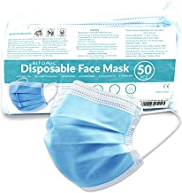 Disposable Mask - 50 PC/Bag | 3 Layer BFE 95%+ Face Masks with Durable Earloop, Noseband | Latex-Free Anti Dust Particulate Breathable & Comfortable Face Mask with Melt-Blown Filter - USA Expedited