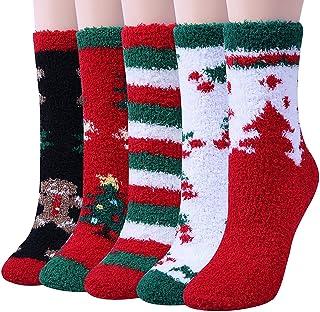 Chalier, 5 Pares de Calcetines de Coral con Forma de Pastel Regalo de Navidad para Niña y Mujer