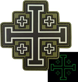 LEGEEON Glow Dark Olive Drab OD Order Holy Sepulchre Jerusalem Cross Crusaders Morale Touch Fastener Patch
