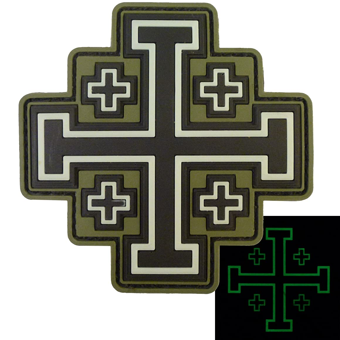 LEGEEON Glow Dark Olive Drab OD Order Holy Sepulchre Jerusalem Cross Crusaders Morale Touch Fastener Patch