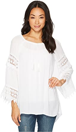 Drusilla High-Low Crocheted Sleeve Top