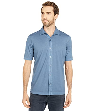 Mod-o-doc Dana Point Short Sleeve Button Front Shirt (Smokey Blue) Men