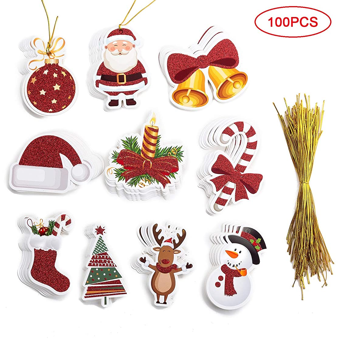 MISS FANTASY 100 Pieces Tags with Gold String Tags Xmas Hanging Gift Wrap Labels Xmas Glitter Gift Tags Include 10 Design (Multi)