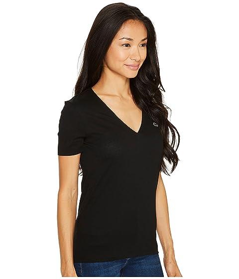 Camiseta en manga sólido de cuello de V Lacoste camiseta con corta negra xXxw6