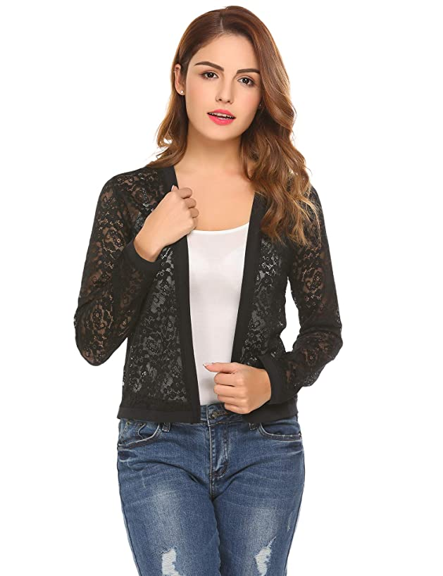 Mofavor Women's Casual Lace Crochet Cardigan Long Sleeve Sheer Cover Up Jacket