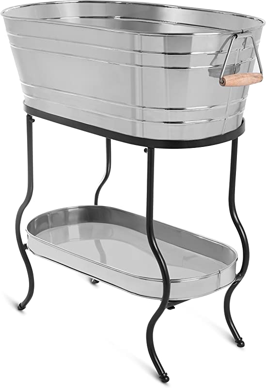 BirdRock Home Stainless Steel Beverage Tub With Stand Oval Bottom Tray Party Drink Holder Wooden Handles Outdoor Or Indoor Use Free Standing