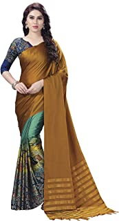Venisa Women's Half & Half Handloom Cotton Soft Silk Digital Printed Saree(Shraddha_Musturd_Free Size)