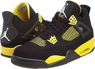 eb9d17f564a2 NIKE Mens Air Jordan 4 Retro Thunder Leather Basketball Shoes