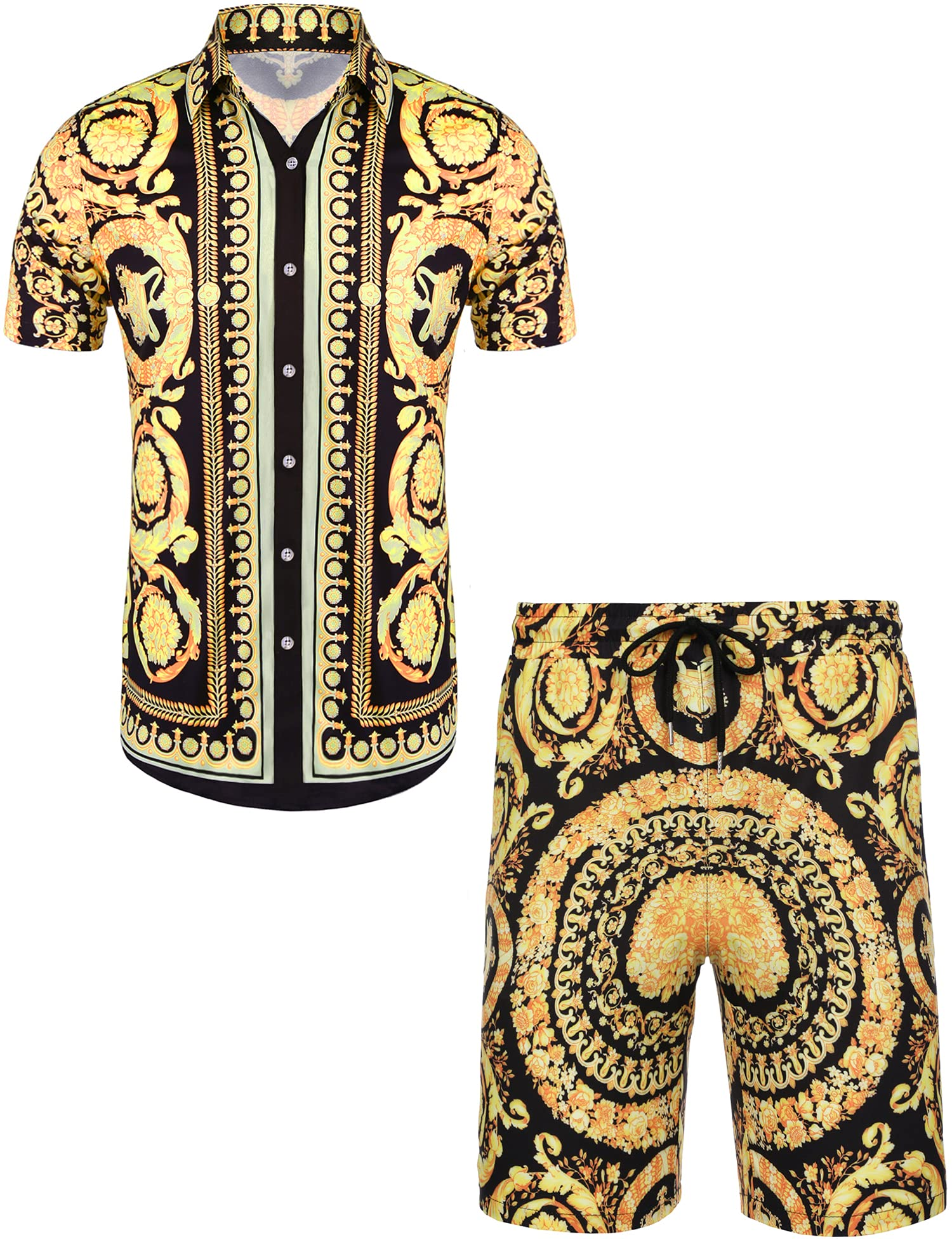 Daupanzees Men's Luxury Casual Button Down Short Sleeve Hawaiian Shirt Suits