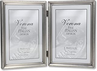 Lawrence Frames Antique Pewter 5x7 Hinged Double Picture Frame - Bead Border Design