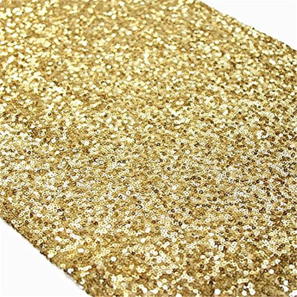 TRLYC 6 Pieces 12 by Arlington Mall 108-Inch Sequin Table Wedding Gold Arlington Mall Runner