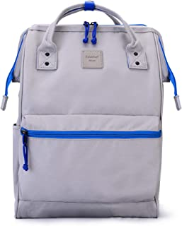 Kah&Kee Polyester Travel Backpack Functional Anti-theft School Laptop for Women Men (Gray.Blue, Large)