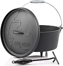 BBQ-Toro Dutch Oven Alpha Serie I al ingebrand - preseasoned I verschillende maten I gietijzeren kookpan I braadpan met de...