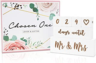 Mr & Mrs Wedding Countdown Block Set by Chosen One - Double Sided Countdown Calendar for Marriage Gift - Bridal Shower Gifts, Engagement Gifts, Wedding Gifts for Bride and Groom