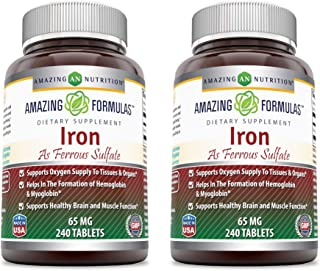 Amazing Formulas Ferrous Sulfate 65 Mg Tablets (Non-GMO, Gluten Free) - Iron As Ferrous Sulfate for Better Absorption- Sup...