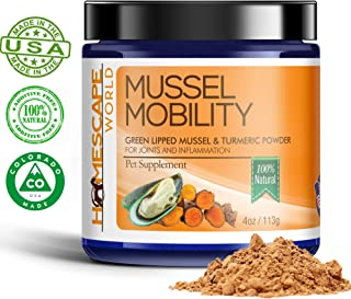 Green Lipped Mussel + Turmeric - Natural Glucosamine - Arthritis Pain Relief - Hip & Joint Supplement for Dogs and Cats - Boosts Energy & Mobility - Senior Pets - All Breeds (4oz Powder)