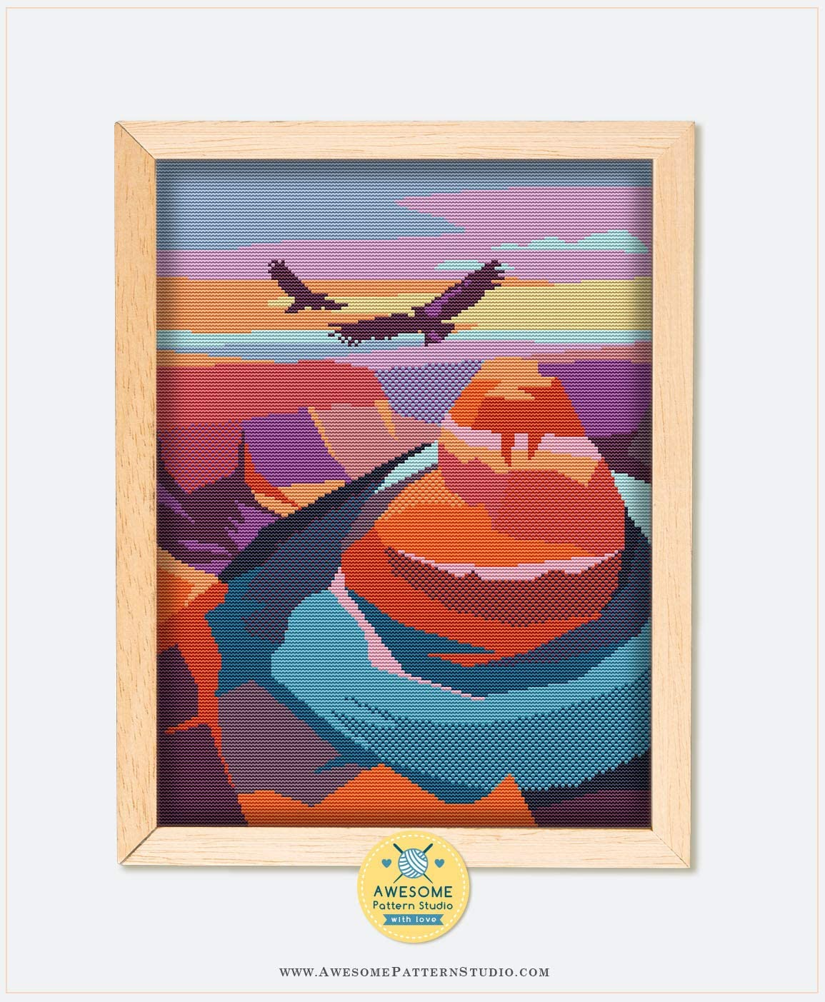 Grand Canyon National Park K334 Counted Cross Stitch KIT#2 Embroidery Pattern Kit Needles Threads Fabrick and 4 Printed Color Schemes Inside