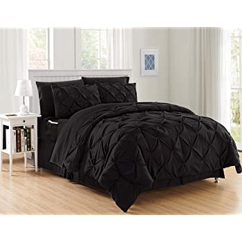 Elegant Comfort Luxury Best, Softest, Coziest 8-Piece Bed-in-a-Bag Comforter Set on Amazon Silky Soft Complete Set Includes Bed Sheet Set with Double Sided Storage Pockets, King/Cal King, Black