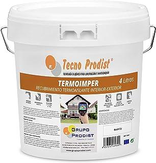 TERMOIMPER de Tecno Prodist - 4 Litros (BLANCO ÓPTICO) Pintura al agua Aislante Térmico - Interior o Exterior en Paredes, ...