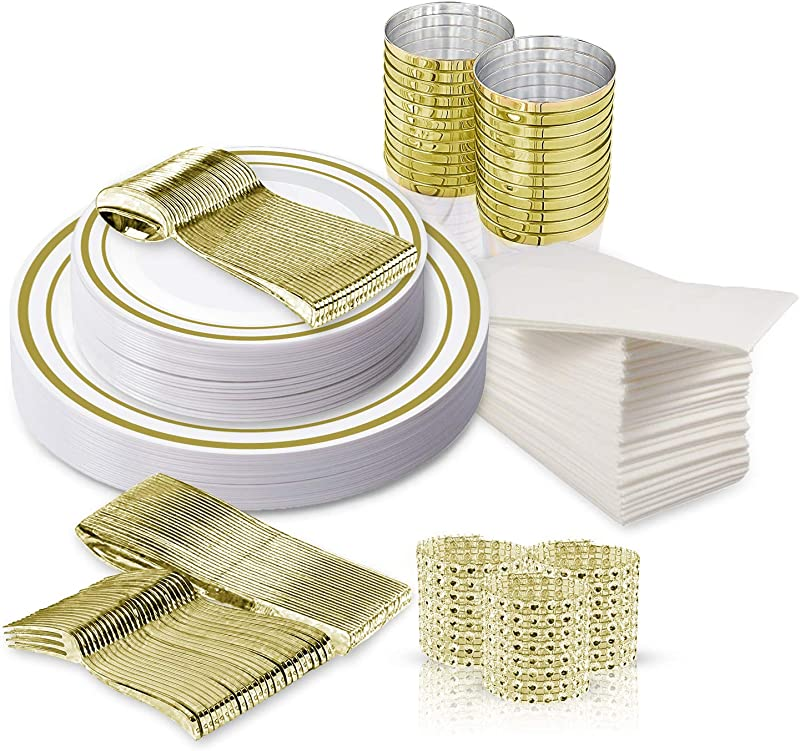 Disposable Fancy Dinnerware Set 216pcs TrueLook Tableware 24 Cups Flutes Napkins Napkin Rings And Gold Plastic Silverware And 48 White And Gold Plastic Party Plates For Elegant Dinner Occasions