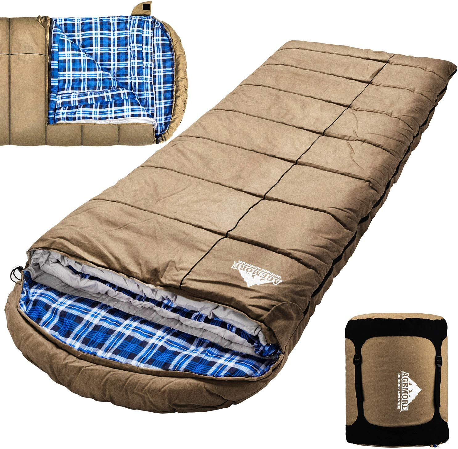 Hunting Traveling and Camping Particularly in Cold Winter Outdoor with Removable Flannel Liner and Free Compression Sack for Big and Tall Adults Winter 0 Degree Canvas Sleeping Bag for Fishing