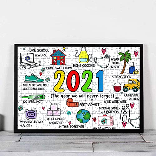 2021 OPTIMISTIC Puzzle 1000 Pieces Christmas Jigsaw Puzzles 2020 Quarantine Puzzle Paper Puzzle Pieces Stress Relief Educational Toy for Kids discount with Packing Box Gift for New Year 1.5mm in online sale Thick (L1) sale