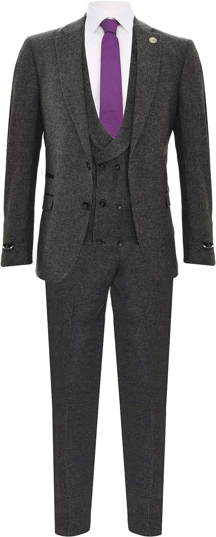 Men's Classic Grey 3 Piece Vintage Harringbone Wool 1920s Peaky Blinders Suit
