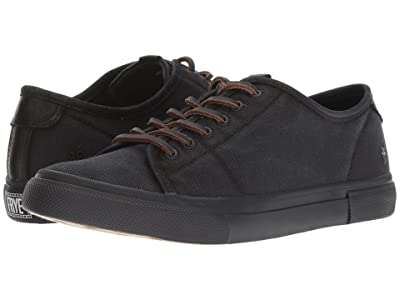 Frye Gia Canvas Low Lace (Black Canvas/Smooth Full Grain/Nubuck) Women