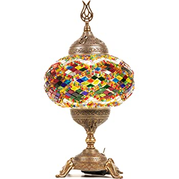 New BOSPHORUS Stunning Handmade Turkish Moroccan Mosaic Glass Table Desk Bedside Lamp Light with Bronze Base (Multi-colored)