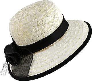 Wasolola Dress Hat for Women Formal Adjustable Wide Brim Flower Church Wedding Hat Lace Beach Sun Hat UV Protection