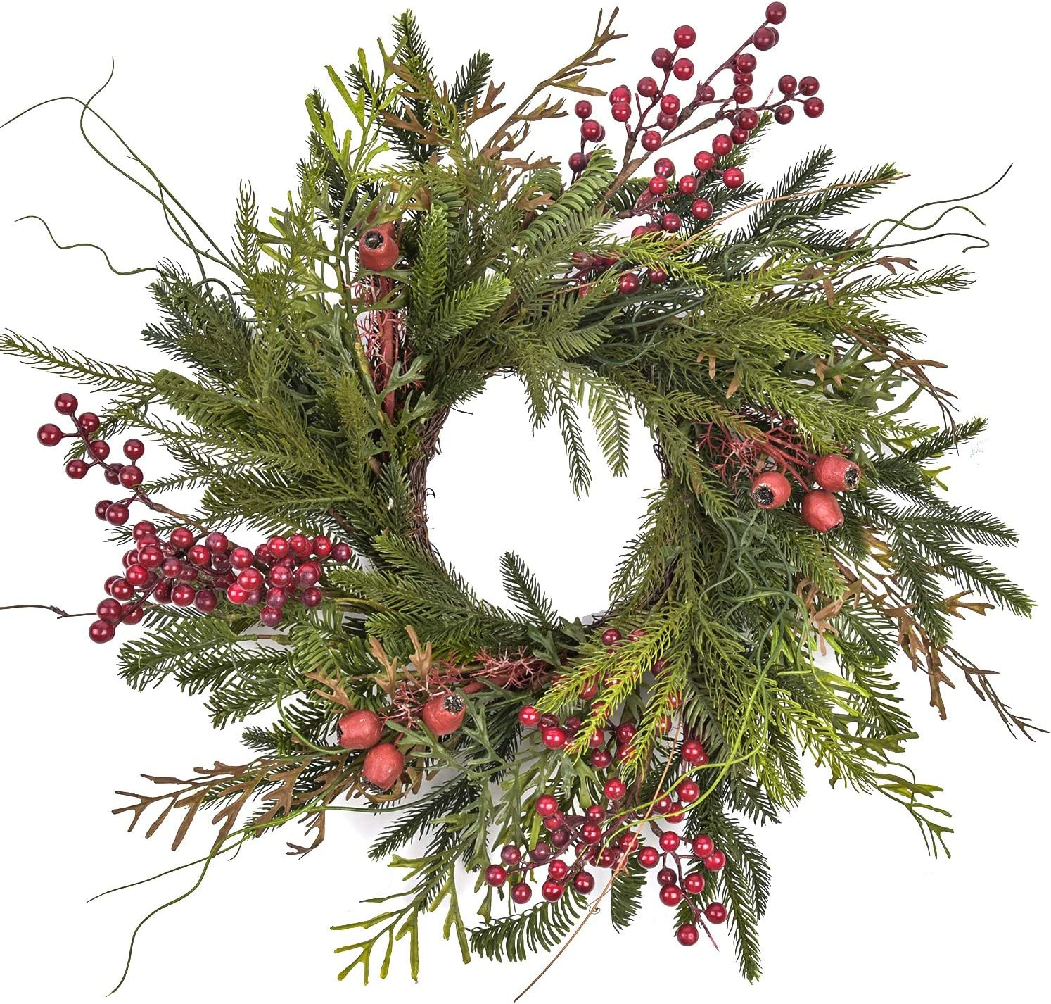 Max 40% OFF Year-end annual account RED DECO Christmas Door Wreath 20-22 - Inch Berr Pine