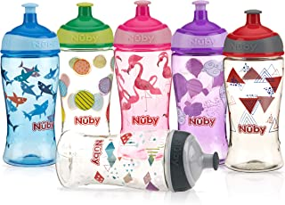 Nuby Printed Kids Pop Up Sipper Water Bottle, Colors May Vary, 1 Pack, 12 Oz, Multi