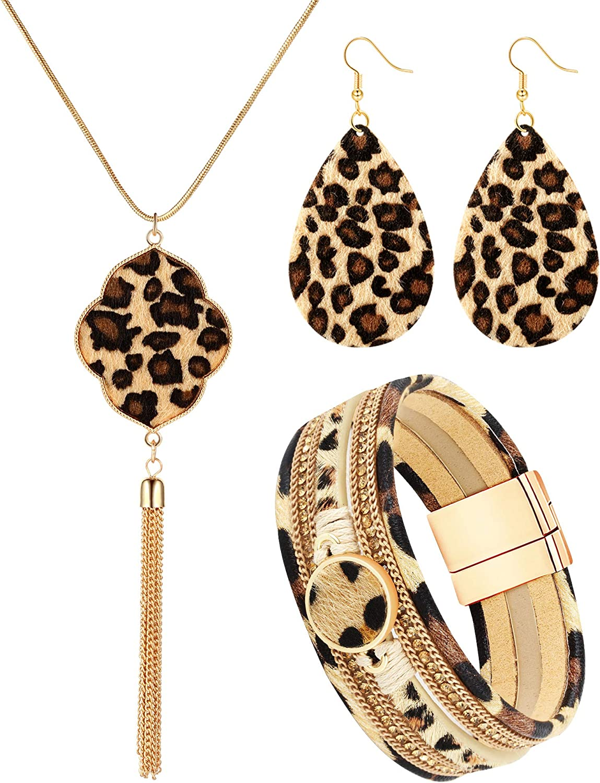 Hicarer 3 Pieces Leopard Jewelry Set Leopard Bracelet Earring Necklace for Women Girls