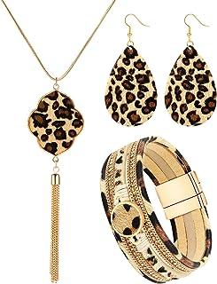 گردنبند گوشواره گوشواره دستبند پلنگ Hicarer 3 پارچه ست جواهرات پلنگ