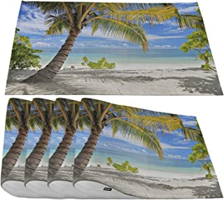 Moslion Sandy Beach Palm Trees Placemats,Tropical Maldives Coastline Peaceful Sea Cloud Blue Place Mats for Dining Table/Kitchen Table,Waterproof Washable Indoor Outdoor Dinner Table Mats,Set of 4