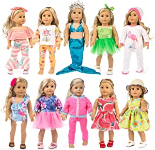 HAPPY ELFIN 23 pcs Girl Doll Clothes Gift for American 18 inch Doll Clothes and Accessories, Including 10 Complete Sets of...