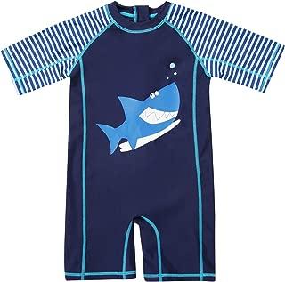Baby Boys Girls Zip One Piece Swimsuit Short Sleeve Rash Guard Swimwear