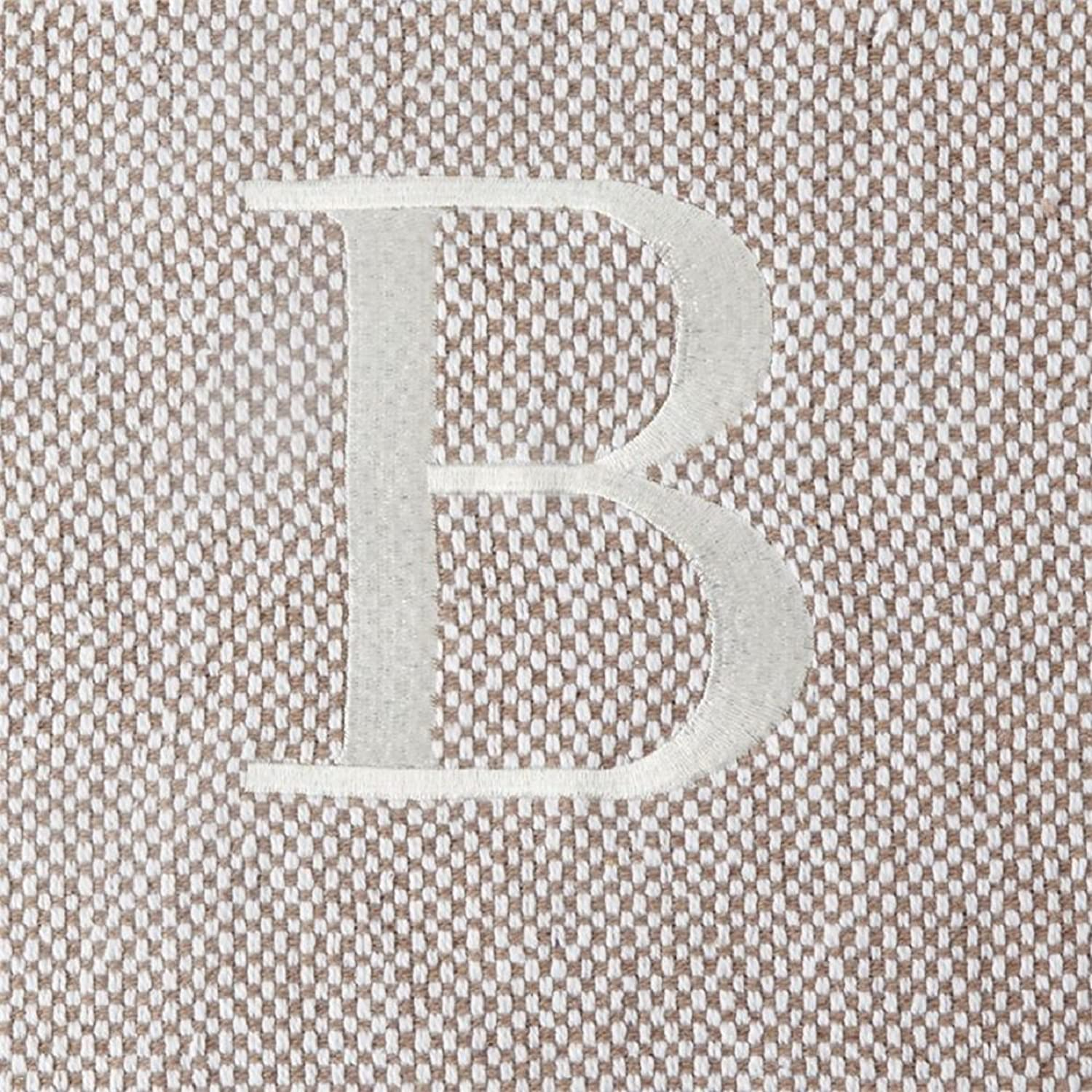Mud Pie Woven Cotton Initial Throw Blanket, Taupe