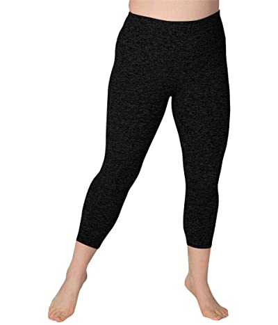 Beyond Yoga Plus Size Spacedye High Waisted Capris (Darkest Night) Women