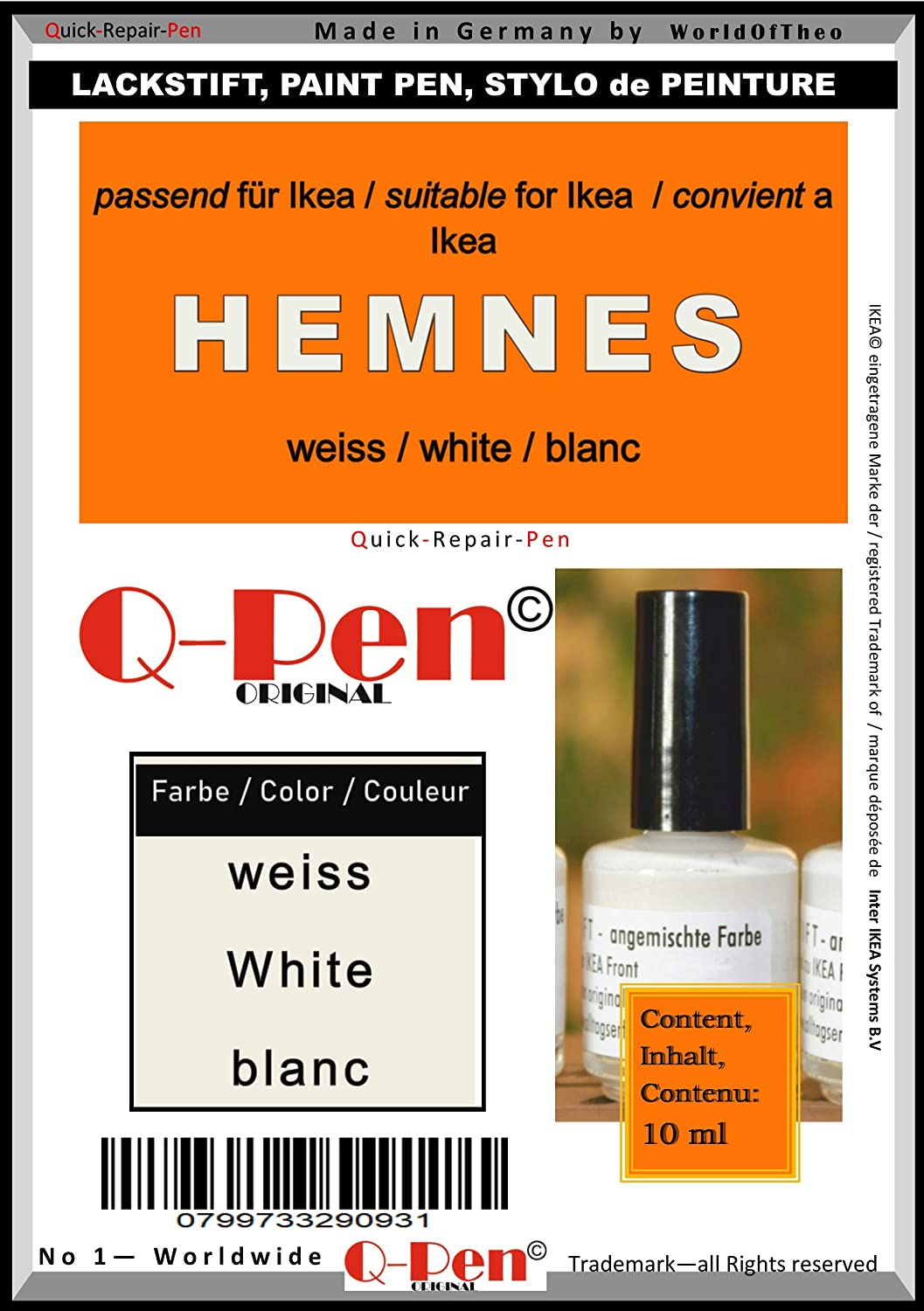 Q-Pen Original Touch-Up Paint for White Direct sale Popularity of manufacturer HEMNES Blanc IKEA weiÃ