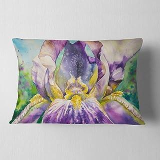 "Designart Iris Flower Close up' Floral Throw Lumbar Cushion Pillow Cover for Living Room, Sofa 12"" x 20"""
