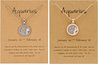 BELLA-Bee 2PC/Set 12 Constellation Necklace Coin Pendant Astrology Constellation Horoscope Zodiac Necklace with Gold Messa...