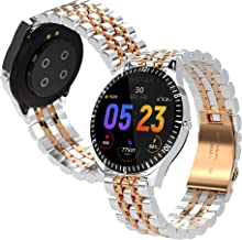 Stainless Steel Luxury Waterproof Touch Screen Smart Watch for iPhone and Android with Phone Calls Capability, Heart Rate Monitoring, Step Counter, Texts Notifications, Fitness Tracker (Silver Gold)